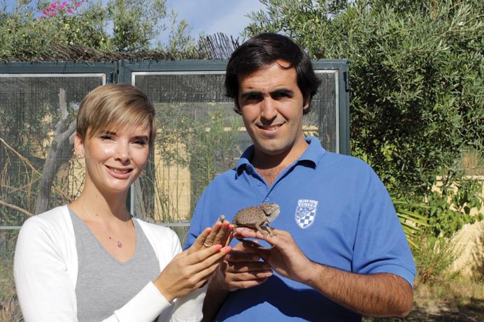 Louise og dyrlæge Joaquin Santaolalla med hhv. en 2 uger gammel kamæleon og en voksen kamæleon
